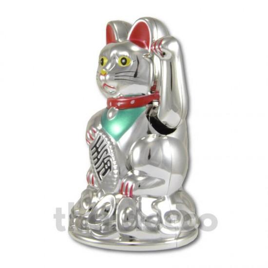 Vinkande lyckokatt Silver - 11cm
