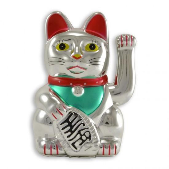 Vinkande lyckokatt Silver - 15cm