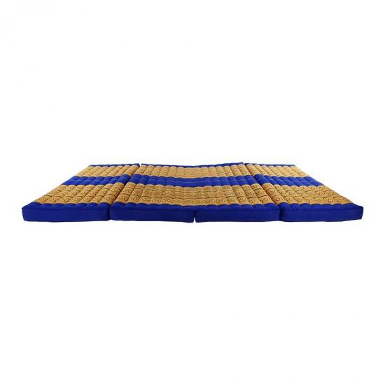 Golvmadrass och solbädd i blockmodell i färgerna blå och guld
