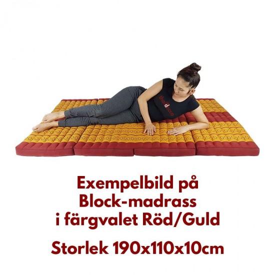 Madrass / Golvbädd blockmodell 190x110x10cm - Blå/Vit