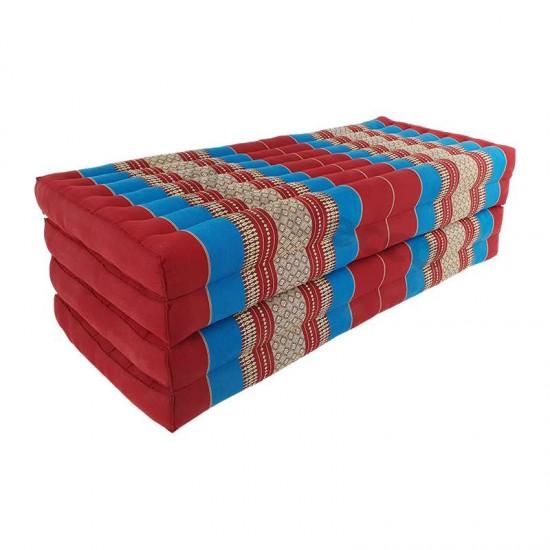 Golvmadrass och solbädd i blockmodell i färgerna rött och blått