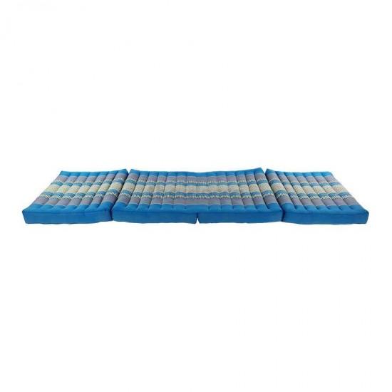 Blå och grå madrass och golvbädd i vikbar blockmodell med måtten 190 x 55 x 10 centimeter