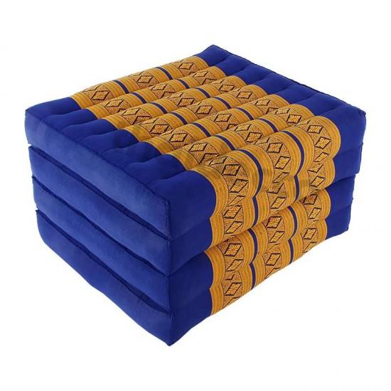 Blå och guldig madrass och golvbädd i vikbar blockmodell med måtten 190 x 55 x 10 centimeter
