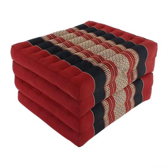 Röd och svart madrass och golvbädd i vikbar blockmodell med måtten 190 x 55 x 10 centimeter
