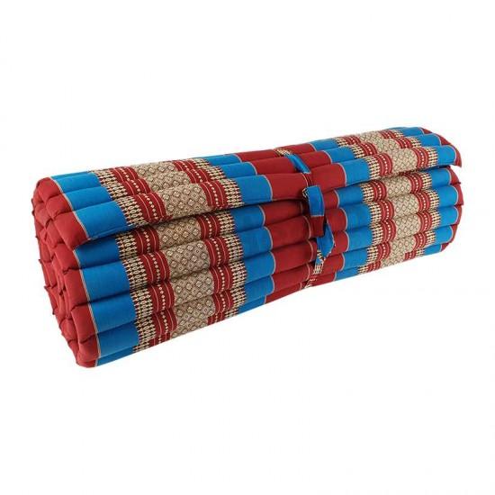Golvmadrass & ihoprullbar golvbädd | 200x100x5cm | Röd & Blå färg