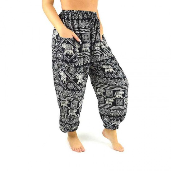 Aladdin Pants Elephant Print - Black