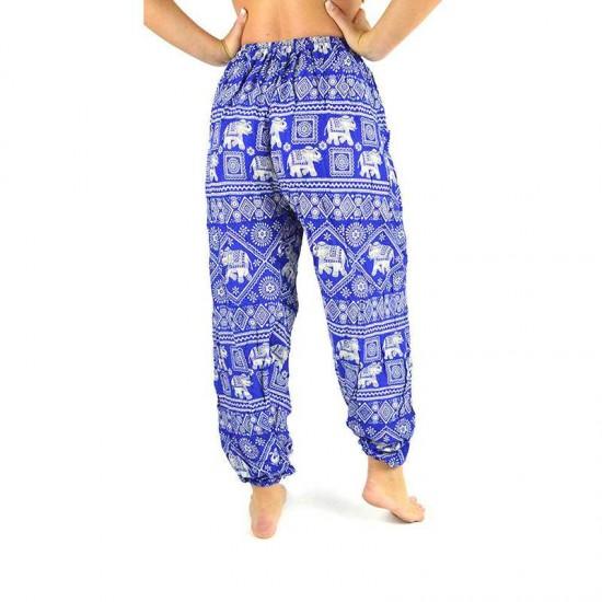 Aladdinbyxa Elefanttryck - Blå