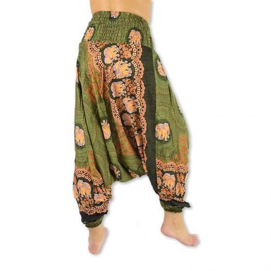 Haremsbyxa för dam och herr Elefantros i färg grön