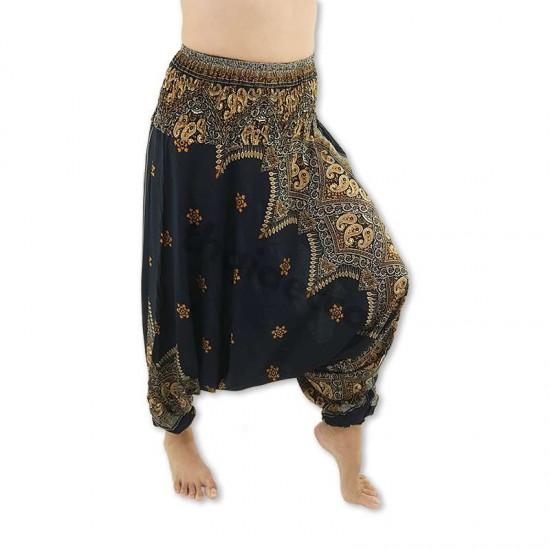 Harem pants Peacock Flower - Black