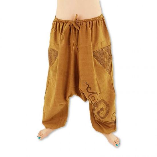 Harem pants Cotton Spiral pattern - Khaki