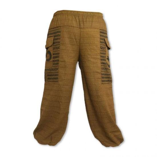 Aladdin pants Cotton Om sign - Brown