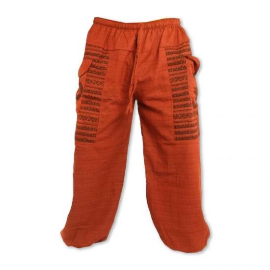 Aladdinbyxa Bomull Om-tecken - Orange
