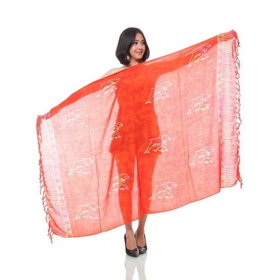Sarong - Pareo with color print - Red