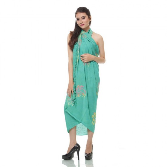 Sarong - Pareo with color print - Mint Green