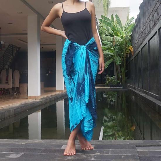 Sarong Stor Hibiskus - Blå & Svart färg - För strand & pool
