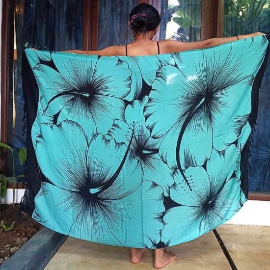 Sarong Stor Hibiskus - Turkos & Svart färg - Köp online här!