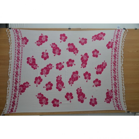 Sarong with hibiscus print in white and pink color for the beach and pool