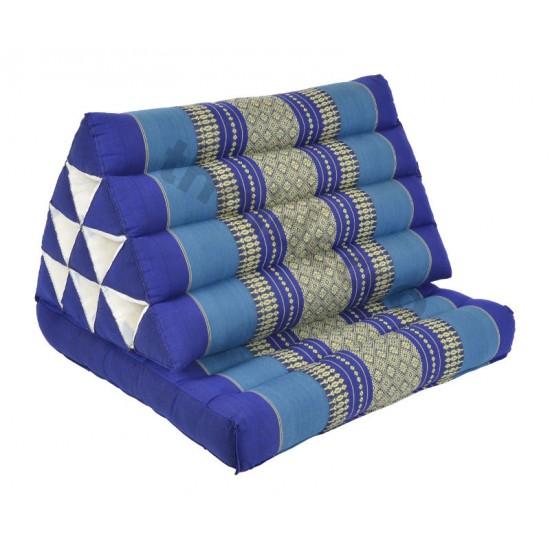 Trekantskudde / Thaikudde med en liggdel i färgen blå och vit
