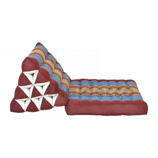 Trekantskudde / Thaikudde med en liggdel i färgen röd och blå