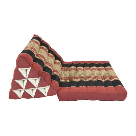 Trekantskudde / Thaikudde med en liggdel i färgen röd och svart