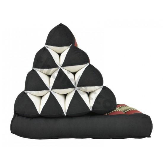 Trekantskudde / Thaikudde med en liggdel i färgen svart och röd