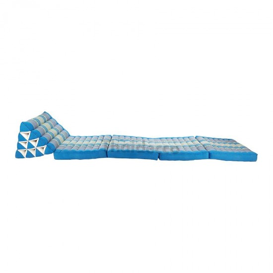 Thai pillow with four fold out mattresses in blue and grey color