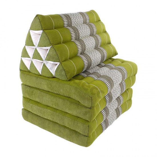 Golvkudde i grön och vit färg