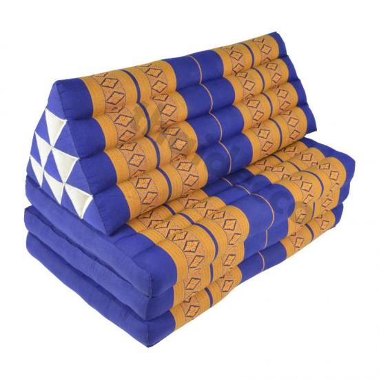 Stor thaikudde Jumbo XXL med tre liggdelar i färgerna blå och guld
