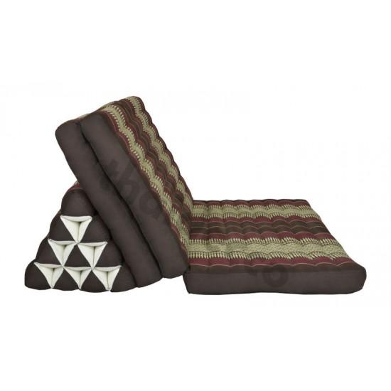 Stor thaikudde Jumbo XXL med tre liggdelar i färgerna brun och röd