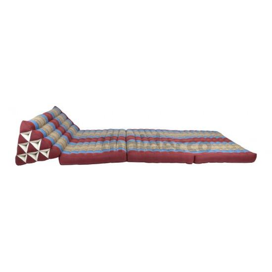 Stor thaikudde Jumbo XXL med tre liggdelar i färgerna röd och blå