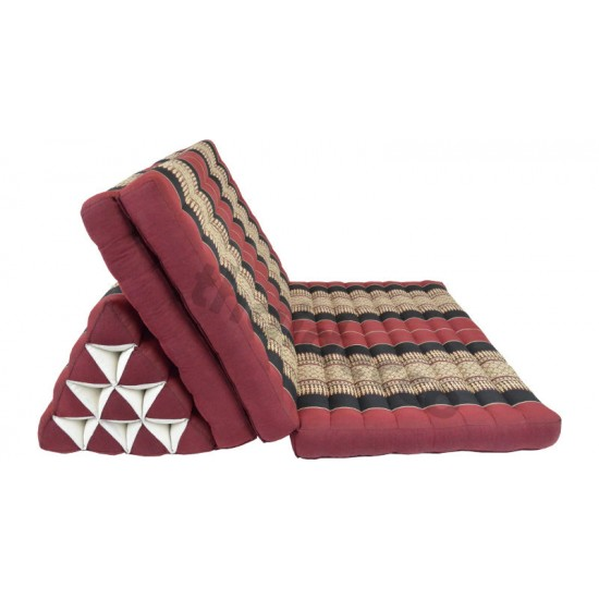 Thai pillow Jumbo XXL with three fold out mattresses - Red/Black