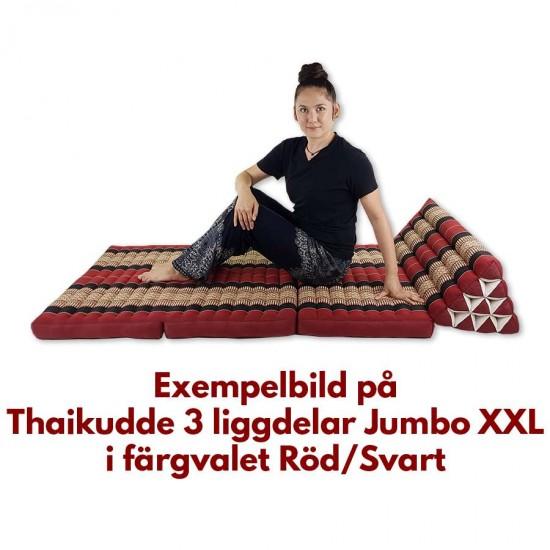 Stor thaikudde Jumbo XXL med tre liggdelar i färgerna svart och röd