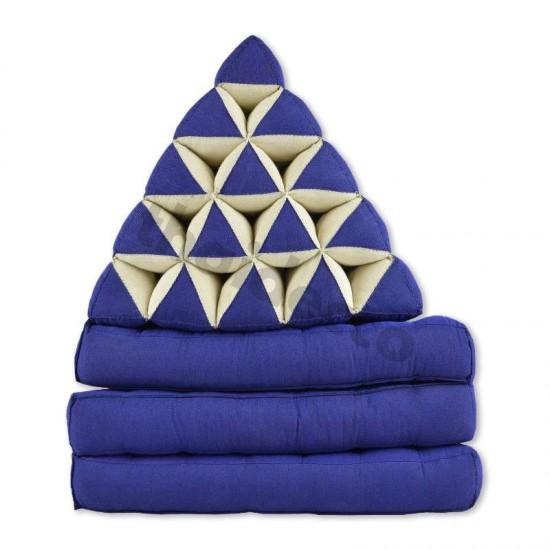 Triangelkudde XL med tre delar i färgerna blå och vit