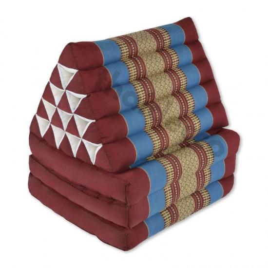Stor Thailändsk kudde med tre utfällbara delar i färgen röd och blå