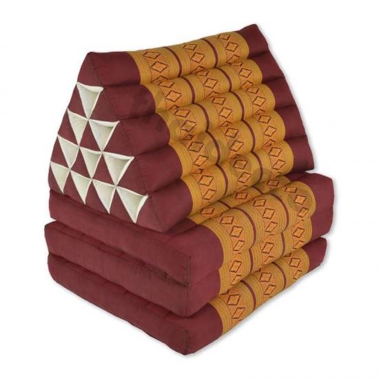 Stor Thailändsk kudde med tre utfällbara delar i färgen röd och guld