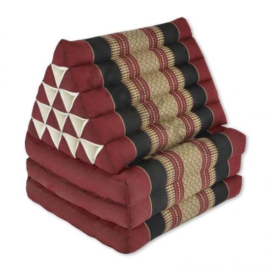 Stor Thailändsk kudde med tre utfällbara delar i färgen röd och svart