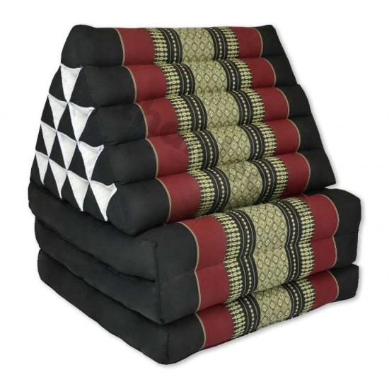 Stor Thailändsk kudde med tre utfällbara delar i färgen svart och röd