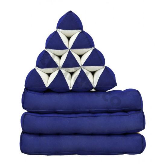Köp thaikudde och golvkudde med tre sittdelar i färg blå och guld