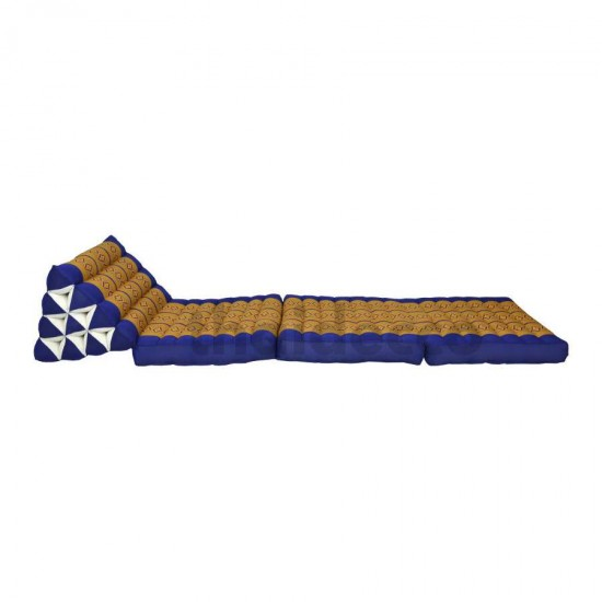 Thai pillow and floor pillow with three fold outs in blue and gold color