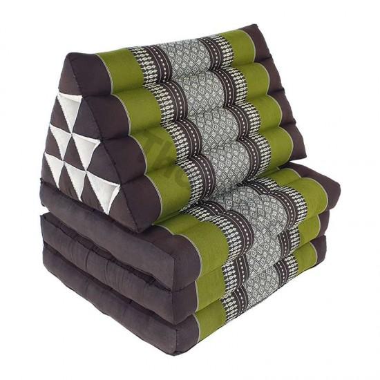 Avlång golvkudde i brun och grön färg