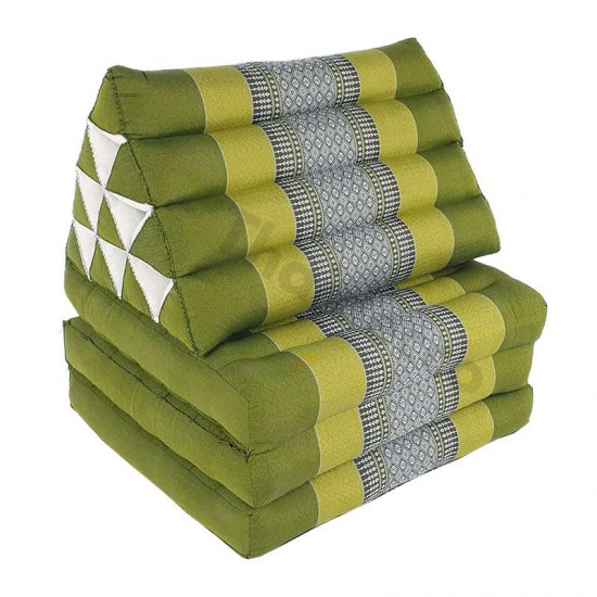 Thai pillow and floor pillow with three fold outs in green color