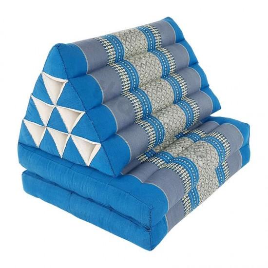 Pyramidkudde från Thailand med två liggdelar i färgerna blå och grå