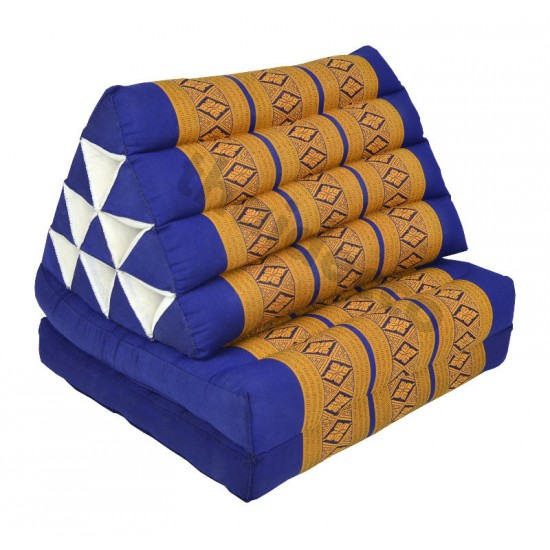 Triangle Pillow with two fold outs - Blue/Gold