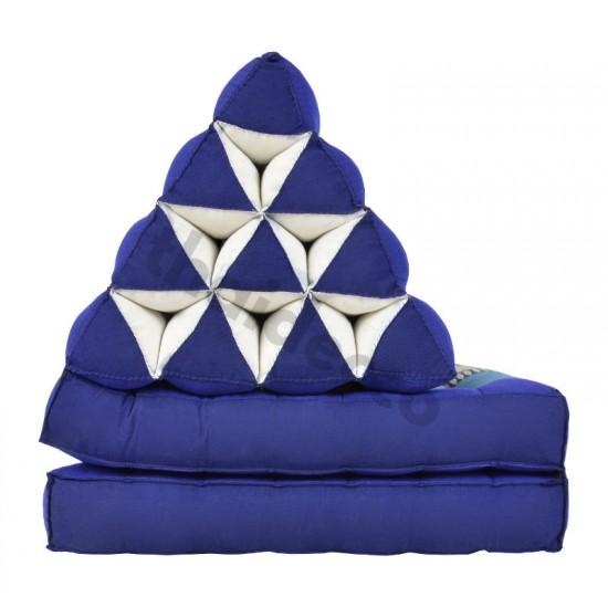 Pyramidkudde från Thailand med två liggdelar i färgerna blå och vit