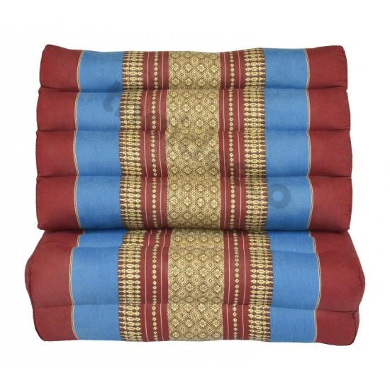 Pyramidkudde från Thailand med två liggdelar i färgerna röd och blå