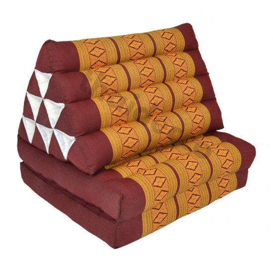 Pyramidkudde från Thailand med två liggdelar i färgerna röd och guld