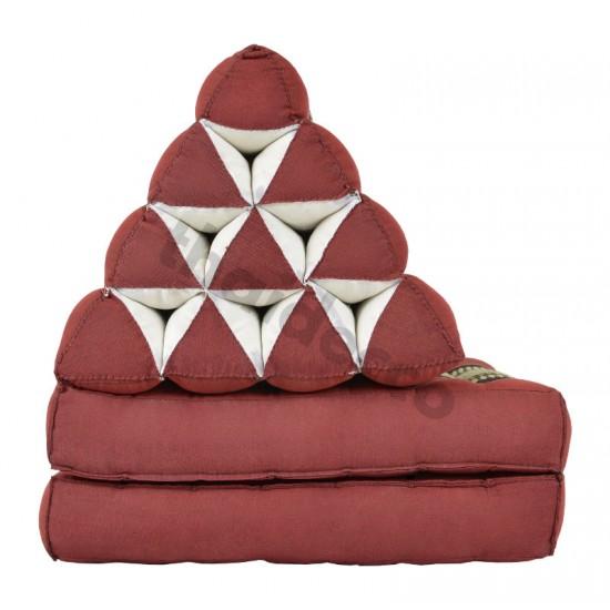 Pyramidkudde från Thailand med två liggdelar i färgerna röd och svart
