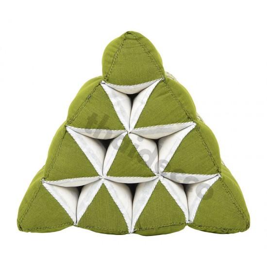 Thailändsk pyramidkudde utan liggdel i färgerna grön och vit