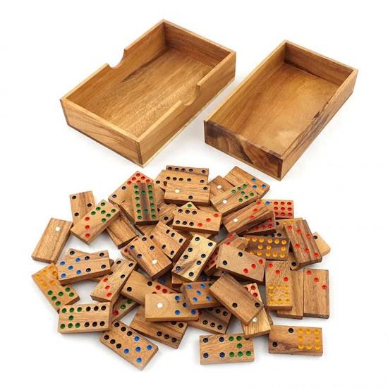 Domino träspel 9x9 punkter med 56 st. spelbrickor inklusive trälåda och lock