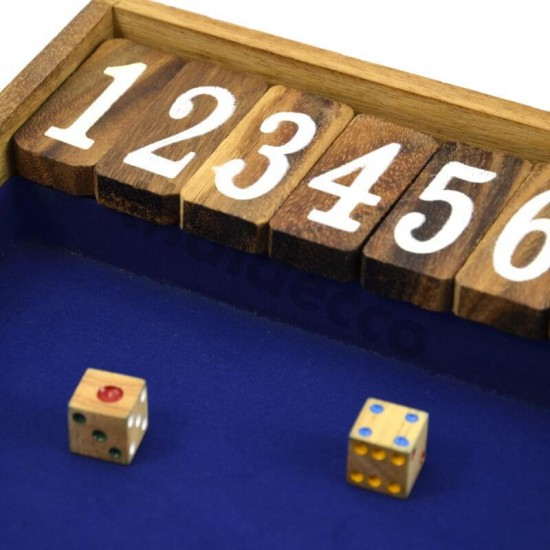 Shut The Box Jumbo tärningsspel med blå spelyta